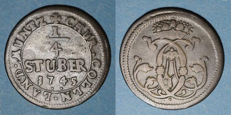 1745 ALTDEUTSCHLAND MÜNZEN Cologne. Clément Auguste de Bavière (1723-61). 1/4 stuber 1745 ss