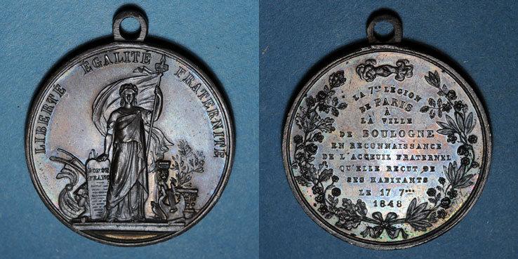 1848 REVOLUTIONÄRE URKUNDEN und KRIEG VON 1870 Révolution de 1848. Fraternisation des gardes nationales. Médaille bronze. 35 mm vz