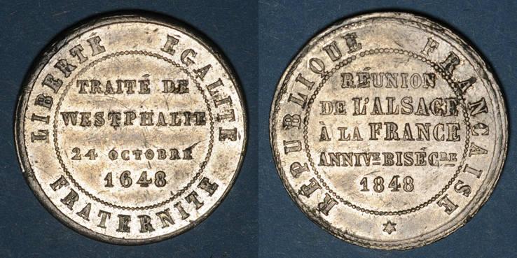 1848 ELSAß 2e centenaire de la Réunion de l'Alsace à la France (traité de Westphalie). 1848. Médaille en étain ss+