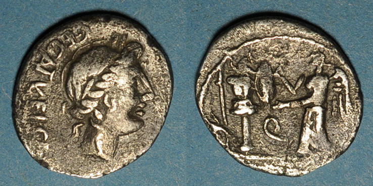 97 av. J-C RÖMISCHE REPUBLIK République Romaine. C Egnatuleius C. f. (97 av. J-C). Quinaire s+