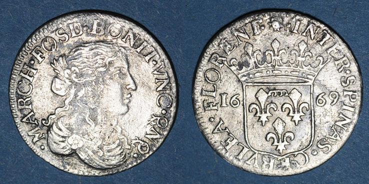 1669 EUROPA Italie. Fosdinovo. Marie-Madeleine Centurioni (1663-1669). 1/12 écu (luigino) 1669 s+