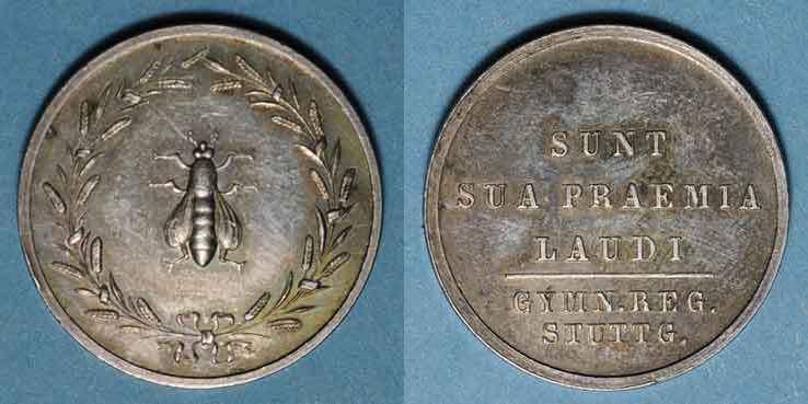 MEDAILLEN STUTTGART. Lycée royal. Prix d'école. Médaille en argent. 22,90 mm vz