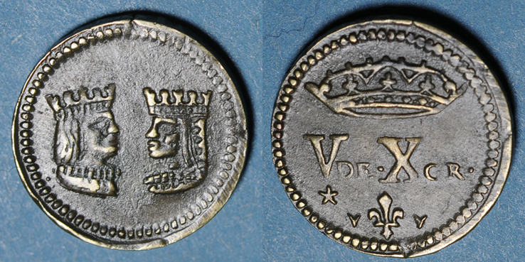1474-1504 GEWICHTE Espagne. Poids monétaire du double ducat de Ferdinand et Isabelle (1474-1504) R ! ss