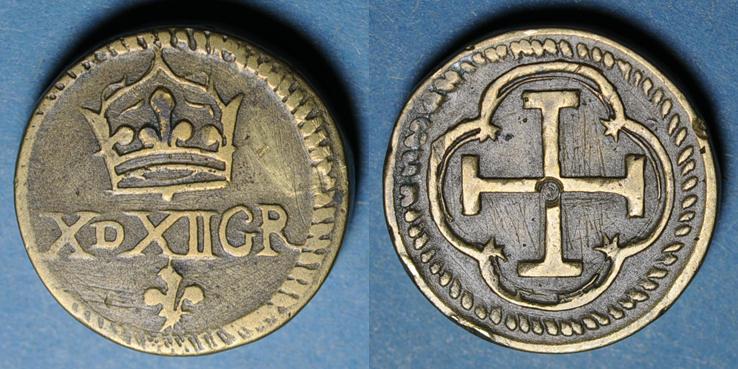 GEWICHTE Espagne. Poids monétaire de la quadruple pistole de Charles Quint milieu du XVIIIe Léger manque à la patine, ss