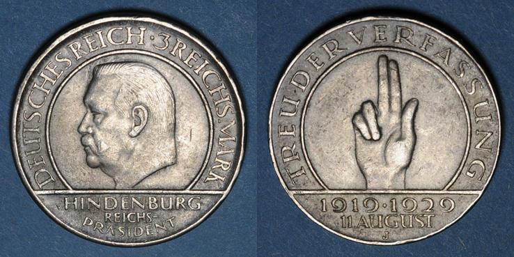1929 J KAISERREICH MÜNZEN Allemagne. République de Weimar. 3 reichsmark 1929J
