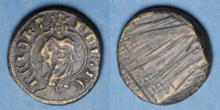 1322-1328 GEWICHTE Charles IV (1322-1328) et Philippe VI (1328-1350). Poids monétaire du royal d'or R ! R ! Très beau poids monétaire, ss
