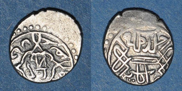 855 ISLAM Anatolie. Ottomans. Mehmet II, 2e règne (855-886H). Akçe (855)H, Amasya Décentré, ss