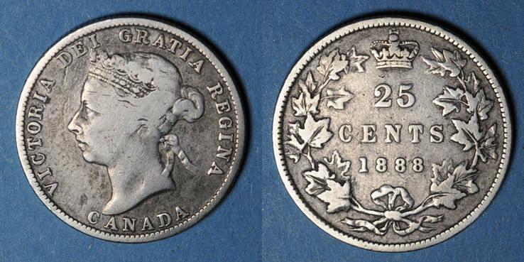 1888 WELTMÜNZEN A bis G Canada. Victoria (1837-1901). 25 cents 1888 B+ / s