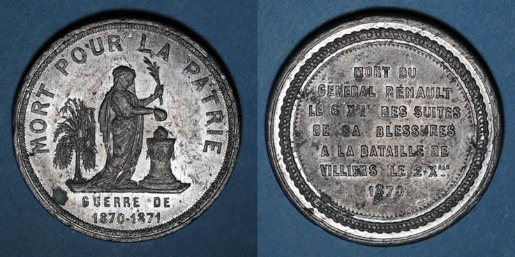 1870-1871 REVOLUTIONÄRE URKUNDEN und KRIEG VON 1870 Guerre de 1870-1871. Mort du général Renault. Médaille étain. 37,2 mm ss+