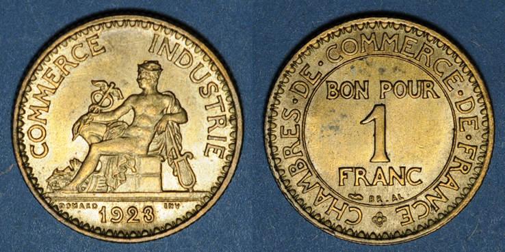 1923 FRANZÖSISCHE MODERNE MÜNZEN 3e république (1870-1940). 1 franc Chambre de Commerce 1923 vz
