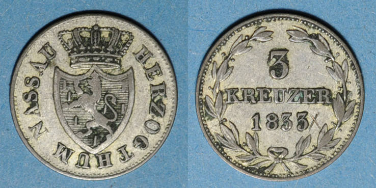 1833 KAISERREICH MÜNZEN Nassau. Guillaume (1816-1839). 3 kreuzer 1833 Graffiti / revers sinon TTB / ss-vz