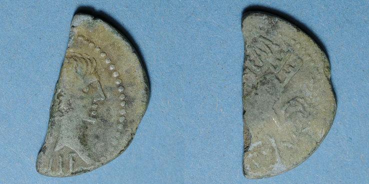 10 avant J-C RÖMISCHE KAISERZEIT Auguste et Agrippa. As (= dupondius coupé). Nîmes, 16 avant - 10 avant J-C. Belle patine verte, s