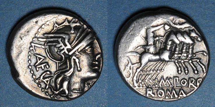 vers 125 av. J-C RÖMISCHE REPUBLIK République romaine. M. Porcius Laeca (vers 125 av. J-C). Denier Légèrement décentré sinon ss+ / s-ss