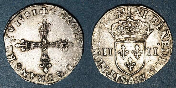 1591 A Französische Königliche Münzen Charles X Roi De La Ligue