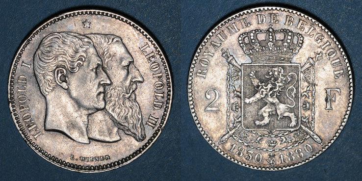 1880 EUROPA Belgique. Léopold II (1865-1909). 2 francs 1880.