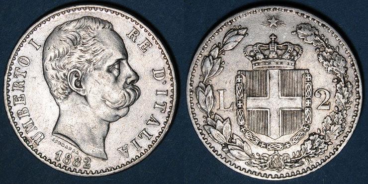 1882 R EUROPA Italie. Umberto I (1878-1900). 2 lires 1882R. Rome s-ss / ss