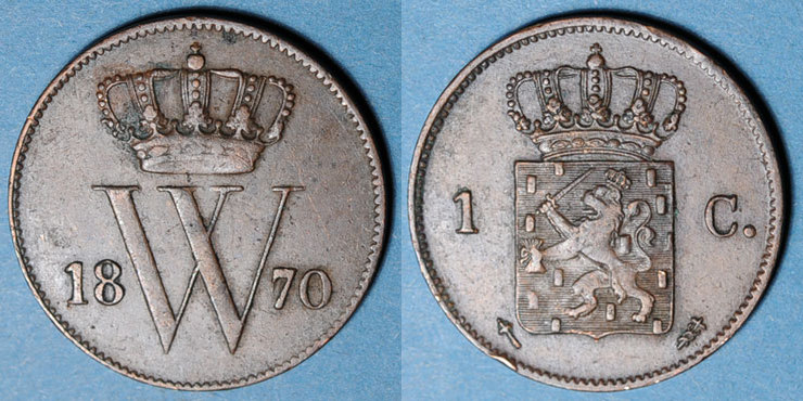 1870 EUROPA Pays Bas. Guillaume III (1849-1890). 1 cent 1870 Petit coup, ss