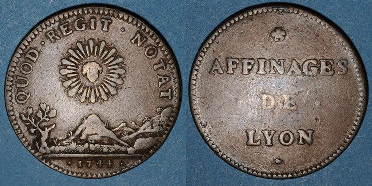 1744 MARKEN - JETONS (RECHENPFENNIGE) Affinages de Lyon. Jeton cuivre 1744 ss / s-ss