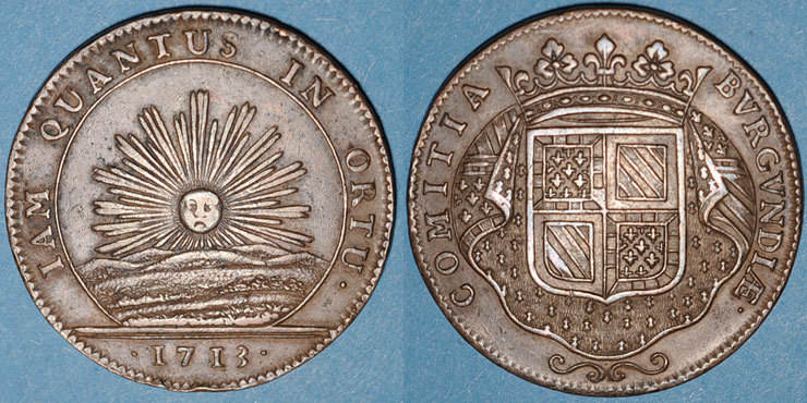 1713 MARKEN - JETONS (RECHENPFENNIGE) Etats de Bourgogne. Jeton cuivre 1713 ss