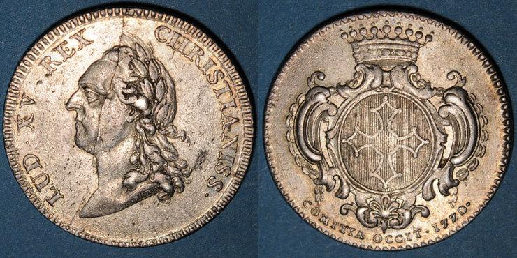 1770 MARKEN - JETONS (RECHENPFENNIGE) Etats du Languedoc. Jeton argent 1770 Petite cassure de coin, ss