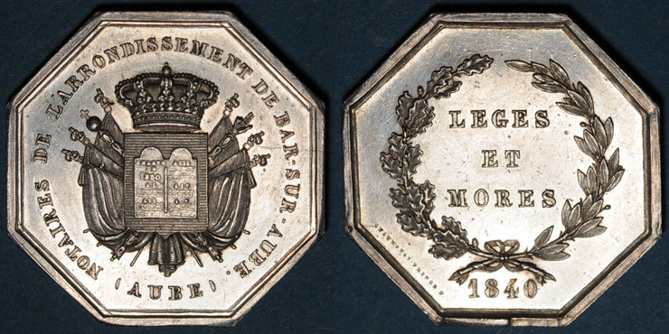 1840 MARKEN - JETONS (RECHENPFENNIGE) Notaires. Bar-sur-Aube. Jeton argent 1840. Poinçon : main indicatrice Presque vz