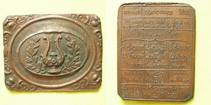 1855 MEDAILLEN Lille. Concours de 1855. Médaille en étain cuivré. 57 x 73 mm. N° IIII vz