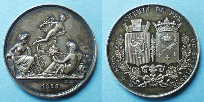 1826 MEDAILLEN Chemin de fer St Etienne à Lyon. 1826. Médaille en argent. 36,5 mm. Tiolier. Poinçon : lampe antique Petits chocs / listel, ss+