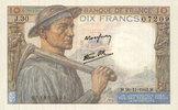 1942-11-26 NOTES OF THE BANQUE DE FRANCE Banque de France. Billet. 10 ... 15,00 EUR  +  7,00 EUR shipping