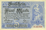 DEUTSCHLAND - NOTGELDSCHEINE (1914-1923) A - J  Annaberg. Amtschauptmannschaft. Billet. 5 mark 1.11.1918, timbre sec, cachet d'a