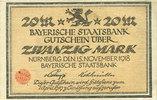 DEUTSCHLAND - NOTGELDSCHEINE (1914-1923) A - J  Bayern. Bayerische Staatsbank. Nürnberg 1918. Billet. 20 mark 15.11.1918