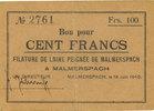 18.6.1940 FRANZÖSISCHE NOTSCHEINE Malmerspach (68). Filature de laine ... 45,00 EUR  zzgl. 7,00 EUR Versand