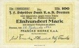29.9.1922 DEUTSCHLAND - NOTGELDSCHEINE (1914-1923) A - J Bremen. Frank... 10,00 EUR  zzgl. 7,00 EUR Versand