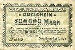 DEUTSCHLAND - NOTGELDSCHEINE (1914-1923) A - J  Bremerhaven. Norddeutscher Lloyd Bremen. Billet. 500 000 mark 10.8.1923