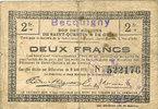 FRANZÖSISCHE NOTSCHEINE  Becquigny (02). Commune. Billet. SQG, 2 francs du 8.8.1916