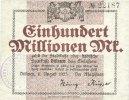DEUTSCHLAND - NOTGELDSCHEINE (1914-1923) A - J  Allemagne. Dülmen. Stadt. Billet. 100 millions mark 11.8.1923
