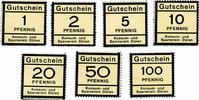 DEUTSCHLAND - NOTGELDSCHEINE (1914-1923) A - J  Düren. Konsum- und Sparverein. Billets. 1, 2, 5, 10, 20, 50, 100 pf (1916)