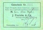 DEUTSCHLAND - NOTGELDSCHEINE (1914-1923) A - J  Einswarden. Frerichswerft. Billet. 1 mark 14.9.1916
