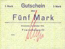 DEUTSCHLAND - NOTGELDSCHEINE (1914-1923) A - J  Einswarden. Frerichswerft. Billet. 5 mark octobre 1918, signature en rouge