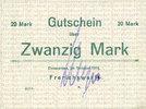 DEUTSCHLAND - NOTGELDSCHEINE (1914-1923) A - J  Einswarden. Frerichswerft. Billet. 20 mark octobre 1918, signature en violet