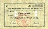 DEUTSCHLAND - NOTGELDSCHEINE (1914-1923) A - J  Elbing (Elblag, Pologne). Städtische Sparkasse. Billet. 3 mark 5.8.1914 (1918)