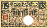 DEUTSCHLAND - NOTGELDSCHEINE (1914-1923) A - J  Ems, Bad. Stadt. Billet. 10 mark série (Reihe) A 18.11.1918, annulation par perf