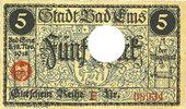 DEUTSCHLAND - NOTGELDSCHEINE (1914-1923) A - J  Ems, Bad. Stadt. Billet. 5 mark série (Reihe) E 18.11.1918, annulation par perfo