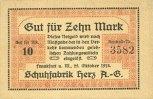 DEUTSCHLAND - NOTGELDSCHEINE (1914-1923) A - J  Frankfurt am Main. Schuhfabrik Herz a. G.. Billet. 10 mark 25.10.1918
