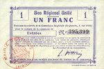 FRANZÖSISCHE NOTSCHEINE  Estrées (02). Commune. Billet.  B.R.U., 1 franc