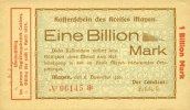 DEUTSCHLAND - NOTGELDSCHEINE (1914-1923) K -Z  Mayen, Kreis, Emission des séparatistes, billet, 1 billion mk
