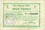 FRANZÖSISCHE NOTSCHEINE  Fontaine-les-Clercs (02). Commune. Billet. B.R.U., 2 francs