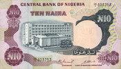 ANDERE AUSLÄNDISCHE SCHEINE  Nigéria. Banque Centrale. Billet. 10 naira (1973-1978)