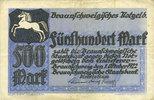 DEUTSCHLAND - NOTGELDSCHEINE (1914-1923) A - J  Brunswick. Braunschweigische Staatbank. Billet. 500 mark 1.10.1922