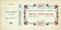 FRANZÖSISCHE NOTSCHEINE  Laon (02). Caisse d'Epargne. Billet. 20 francs 30.7.1915, 2e émission