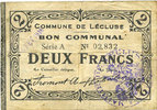 FRANZÖSISCHE NOTSCHEINE  Lécluse (59). Commune. Billet. 2 francs, série A, cachet 6 Fev 1916